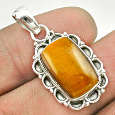 6.72cts natural brown tiger's eye 925 sterling silver pendant jewelry t53210