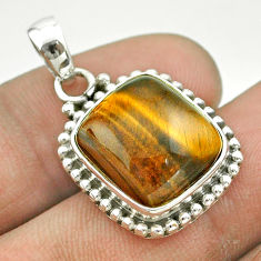12.36cts natural brown tiger's eye 925 sterling silver pendant jewelry t53212
