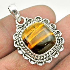 8.44cts natural brown tiger's eye 925 sterling silver pendant jewelry t53215