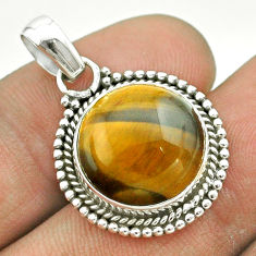 10.78cts natural brown tiger's eye 925 sterling silver pendant jewelry t53217