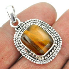 8.14cts natural brown tiger's eye 925 sterling silver pendant jewelry t53275