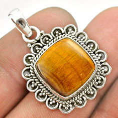 11.57cts natural brown tiger's eye 925 sterling silver pendant jewelry t53321