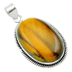 29.27cts natural brown tiger's eye 925 sterling silver pendant jewelry t53914