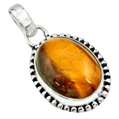 14.23cts natural brown tiger's eye oval 925 sterling silver pendant r26507