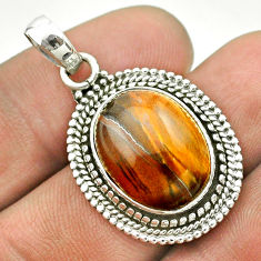 11.93cts natural brown tiger's eye oval 925 sterling silver pendant t53208