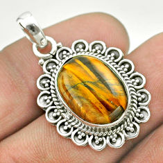 9.96cts natural brown tiger's eye oval 925 sterling silver pendant t53213