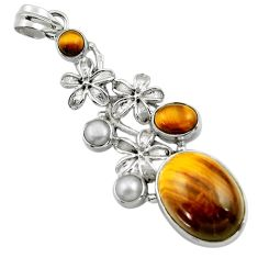 19.49cts natural brown tiger's eye pearl 925 sterling silver pendant r44524