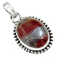 14.14cts natural brown tiger's hawks eye 925 sterling silver pendant r26538