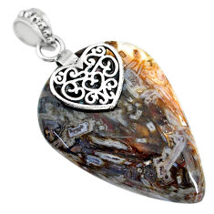 32.74cts natural brown turkish stick agate 925 silver heart pendant r91209