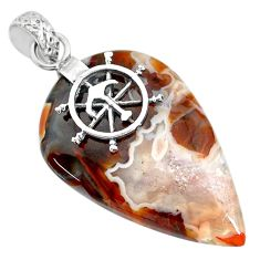 25.06cts natural brown turkish stick agate 925 sterling silver pendant r91205