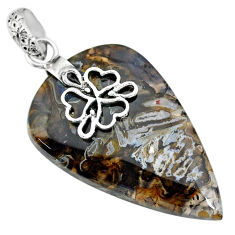 27.10cts natural brown turkish stick agate 925 sterling silver pendant r91211