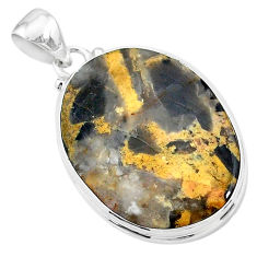 18.15cts natural brown turkish stick agate 925 sterling silver pendant t18383