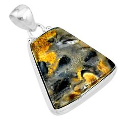 19.07cts natural brown turkish stick agate 925 sterling silver pendant t18398