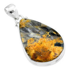 16.73cts natural brown turkish stick agate 925 sterling silver pendant t18401