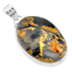20.60cts natural brown turkish stick agate 925 sterling silver pendant t18411