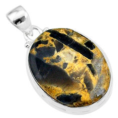 18.68cts natural brown turkish stick agate 925 sterling silver pendant t18419