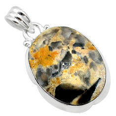 15.55cts natural brown turkish stick agate 925 sterling silver pendant t22673