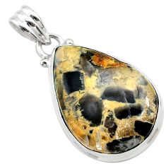 15.02cts natural brown turkish stick agate 925 sterling silver pendant t22674