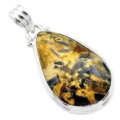 14.09cts natural brown turkish stick agate 925 sterling silver pendant t22677
