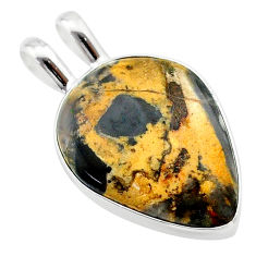 13.15cts natural brown turkish stick agate 925 sterling silver pendant t22679