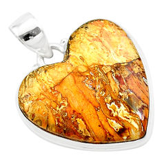 18.15cts heart brown turkish stick agate 925 sterling silver pendant t22943