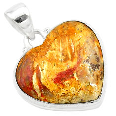 15.65cts heart brown turkish stick agate 925 sterling silver pendant t22948