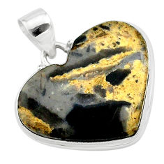 18.68cts heart brown turkish stick agate 925 sterling silver pendant t22970