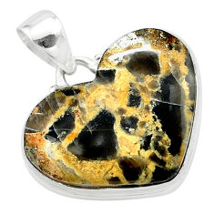 17.57cts heart brown turkish stick agate 925 sterling silver pendant t22973