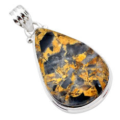 18.70cts natural brown turkish stick agate 925 sterling silver pendant t28780