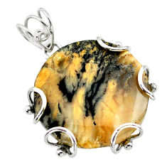 23.46cts natural brown turkish stick agate 925 sterling silver pendant t31876