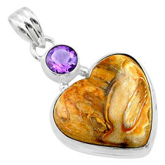 15.65cts heart brown turkish stick agate amethyst 925 silver pendant t23110