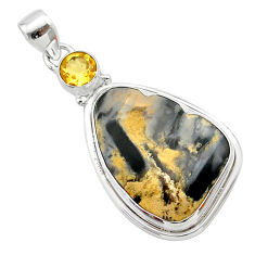 16.94cts natural brown turkish stick agate citrine 925 silver pendant t22662