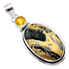 17.42cts natural brown turkish stick agate citrine 925 silver pendant t22669