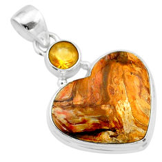 16.20cts heart brown turkish stick agate citrine 925 silver pendant t23101