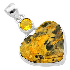 17.22cts natural brown turkish stick agate citrine 925 silver pendant t23126