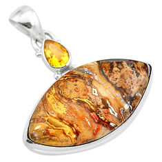 19.23cts natural brown turkish stick agate citrine 925 silver pendant t28554