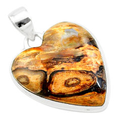 19.12cts heart brown turkish stick agate heart shape 925 silver pendant t22947
