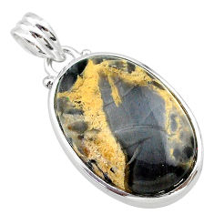 16.94cts natural brown turkish stick agate oval 925 silver pendant t22670