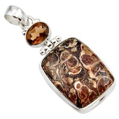 23.11cts natural brown turritella fossil snail agate 925 silver pendant d42320