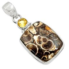 16.18cts natural brown turritella fossil snail agate 925 silver pendant d44582
