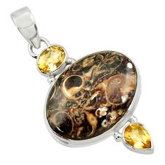 Clearance Sale- 16.20cts natural brown turritella fossil snail agate 925 silver pendant d44591