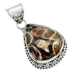 22.70cts natural brown turritella fossil snail agate 925 silver pendant r44509