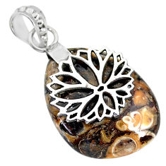 20.54cts natural brown turritella fossil snail agate 925 silver pendant r91264