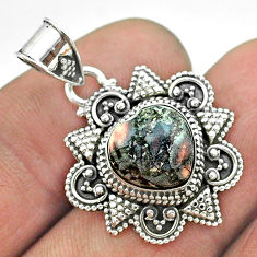 4.84cts natural brown wild horse magnesite 925 sterling silver pendant t56073