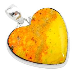 25.03cts heart bumble bee australian jasper heart 925 silver pendant t23026