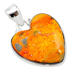 16.18cts heart bumble bee australian jasper heart 925 silver pendant t23028