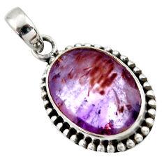 13.40cts natural cacoxenite super seven (melody stone) 925 silver pendant r41359