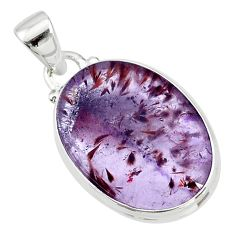 13.20cts natural cacoxenite super seven (melody stone) 925 silver pendant t13030