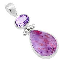 10.79cts natural cacoxenite super seven (melody stone) 925 silver pendant t36968