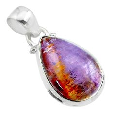 9.80cts natural cacoxenite super seven (melody stone) 925 silver pendant t56713
